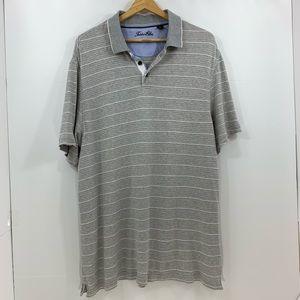 Tasso Elba Gray Striped Short Sleeve Polo